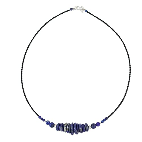 NOVICA Multi-Gem Lapis Lazuli .925 Sterling Silver Beaded Necklace, 16.5 Singing the Blues
