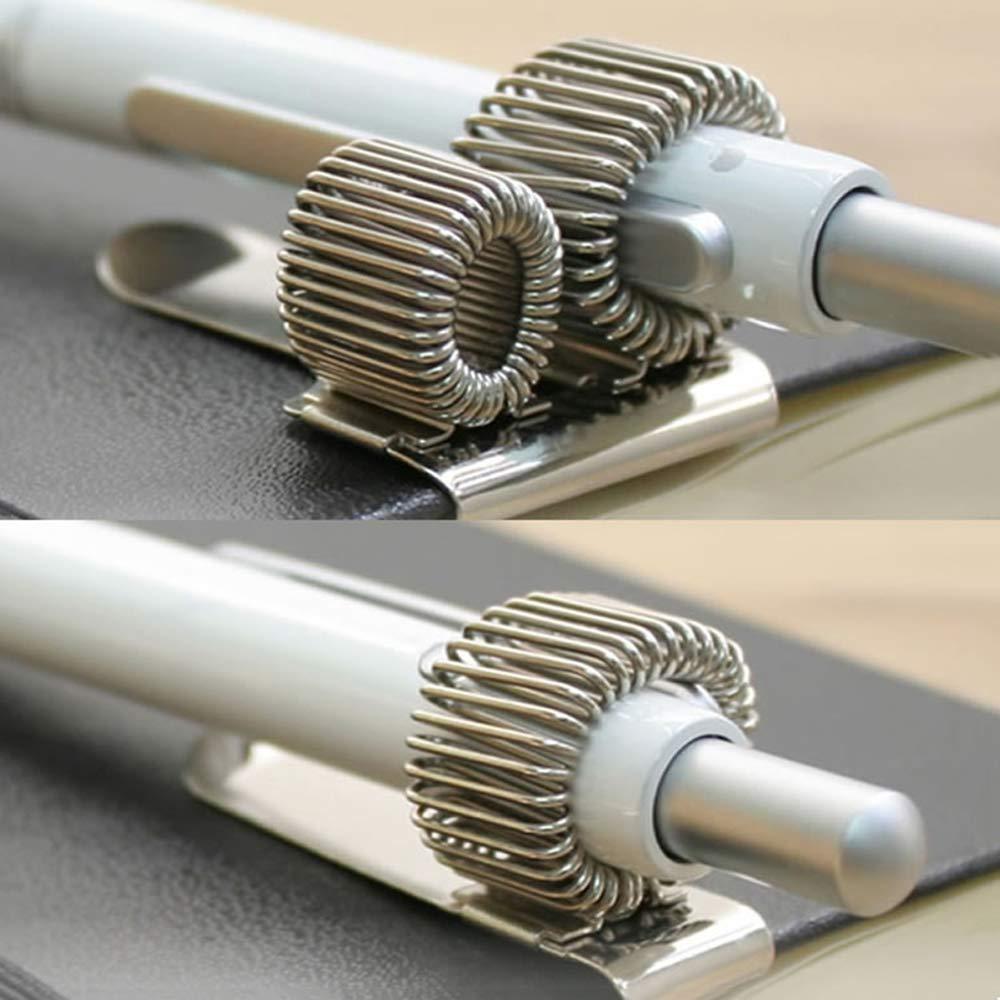 8 Pack de 4 tama/ños Clip de soporte de pluma de acero inoxidable para port/átil y portapapeles con ajuste de resorte Casi todo el tama/ño de pluma plata