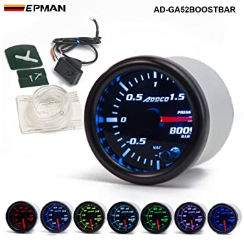 "epman 2 ""52 mm 7 Color LED Humo cara coche Auto Bar Turbo Boost"