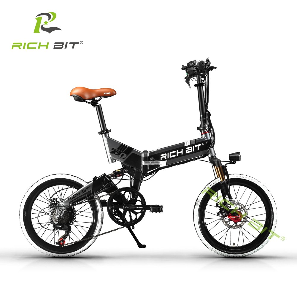 Rich Bit® RT730 Bicicleta Eléctrica Bicicleta Plegable Ciclismo 250 W * 48V 8Ah 7Speed Equipada funda para teléfono cargador y soporte doble freno de disco ...