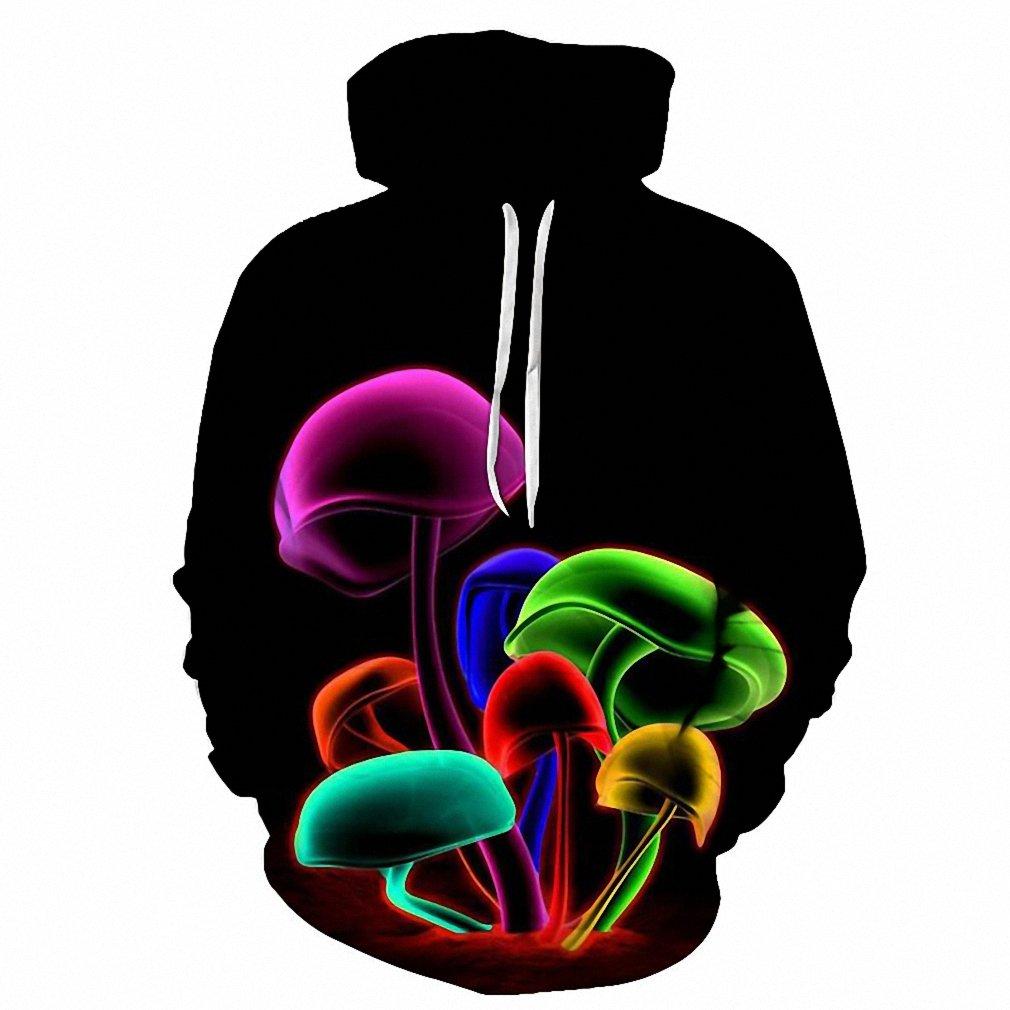 Novelty Sweatshirts Women Mushroom Printed Pocket Hoodies Fashion Coats 3d Men Pullover