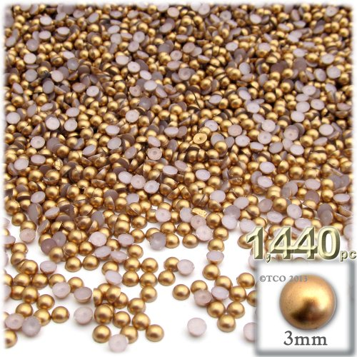 The Crafts Outlet 1440-Piece Pearl Finish Half Dome Round Beads, 3mm, Golden Caramel Brown (Medium Finish Caramel)