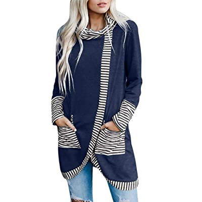 Sttech1 Women Turtle Cowl Neck Long Sleeves Tops Blouses Asymmetry Striped Split Irregular Hem Pullover with Pocket: Clothing