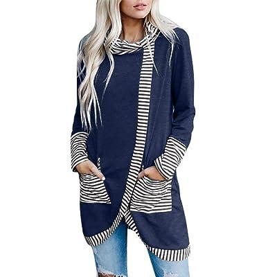 Sttech1 Women Turtle Cowl Neck Long Sleeves Tops Blouses Asymmetry Striped Split Irregular Hem Pullover with Pocket: Clothing [5Bkhe0700407]