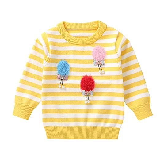 358ca951a Amazon.com  Theshy Toddler Infant Baby Girls Stripe Hair Ball Bow ...