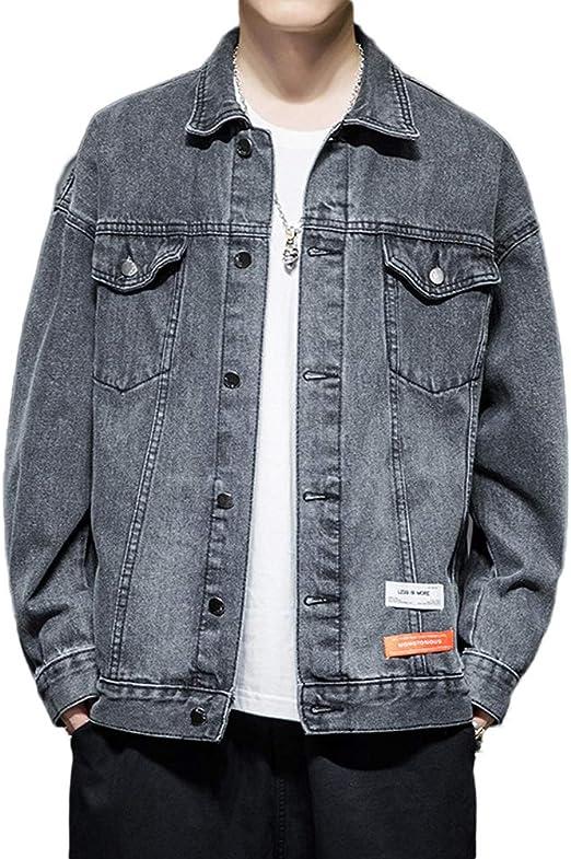 [YUANYUAN]春と秋の服 コート メンズデニムジャケット メンズジャケット ジャケット 男性 新しいデニムジャケット 韓国風 トレンディ ルーズ ハンサム カジュアルトップス ガウン ワークジャケット