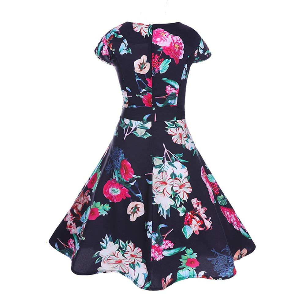 6191b30d702d Amazon.com: 50S 60S Vintage Dresses Short Sleeve for Women Casual Floral  Print Prom Swing with Sashes Dresses for Summer: Clothing