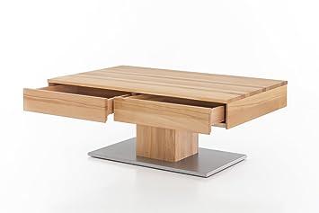 Woodlive Massivholz Couchtisch Rechteckig Aus Kernbuche, Geölter  Wohnzimmer Tisch, Beistelltisch Inkl. Schublade
