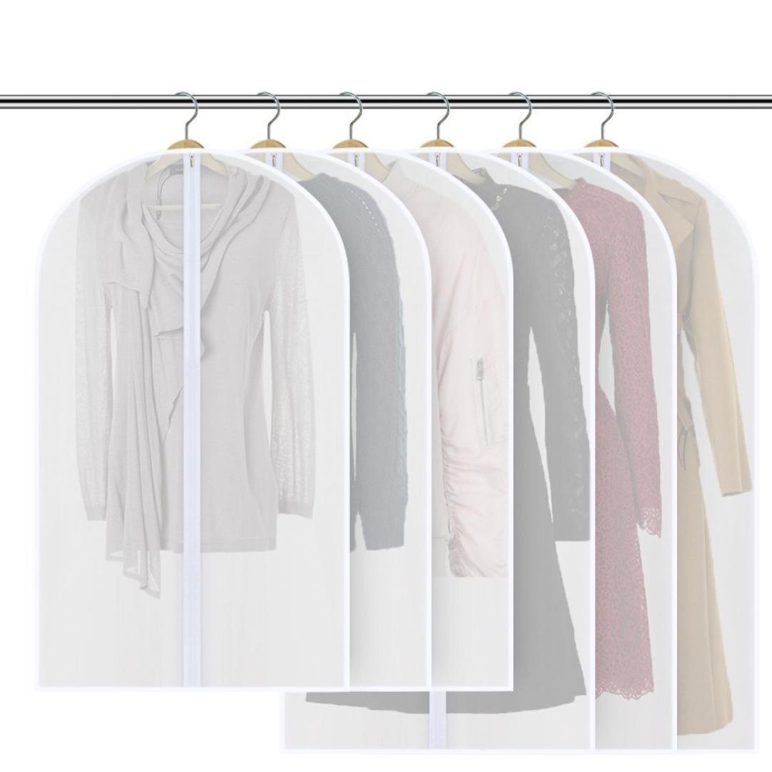 6Pcs White Garment Bag, Iuhan Dust-proof Suit Bag with Sturdy Zipper (Set of 6) for Dress Coats Jackets Sweater Closet Storage, 3Pcs 48'' & 3Pcs 40'' (White)