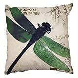 "Arundeal Vintage Decorative Dragonfly With Green Wings 18"" x 18"" Square Cotton Linen Throw Pillow Cover"