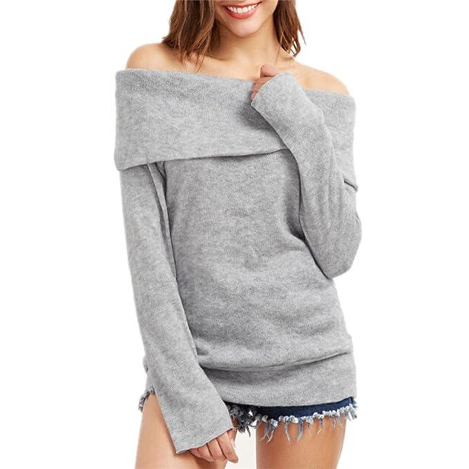 Ruiying Mujer Otoño Invierno Jerséis Moda Suéter Largo Casual Jersey Prendas de Punto de Cuello Barco