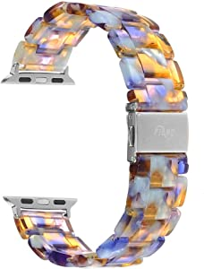 Resin Watch Band,FIANO Fashion Replacement Wristband Strap Compatible with Apple iWatch Series 6/5/4/3/2/1 with Stainless Steel Buckle Strap Women Men(Blue Ocean, 38mm)