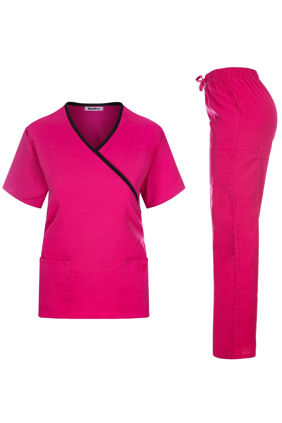 MedPro Women's Contrast Trimmed Solid Medical Scrub Set Mock Wrap Top and Cargo Pants Hot Pink & Black M (GT-756)