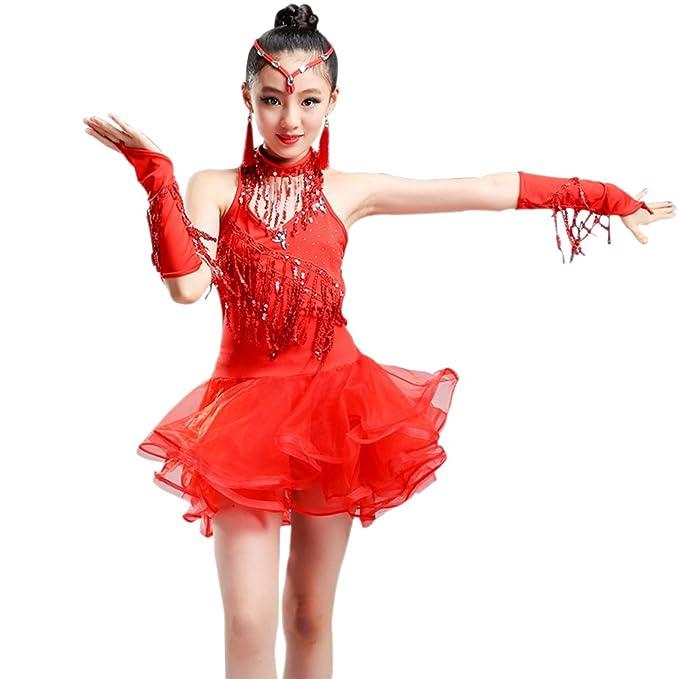Amazon.com: KINDOYO Niña Vestido Danza Latina Traje ...