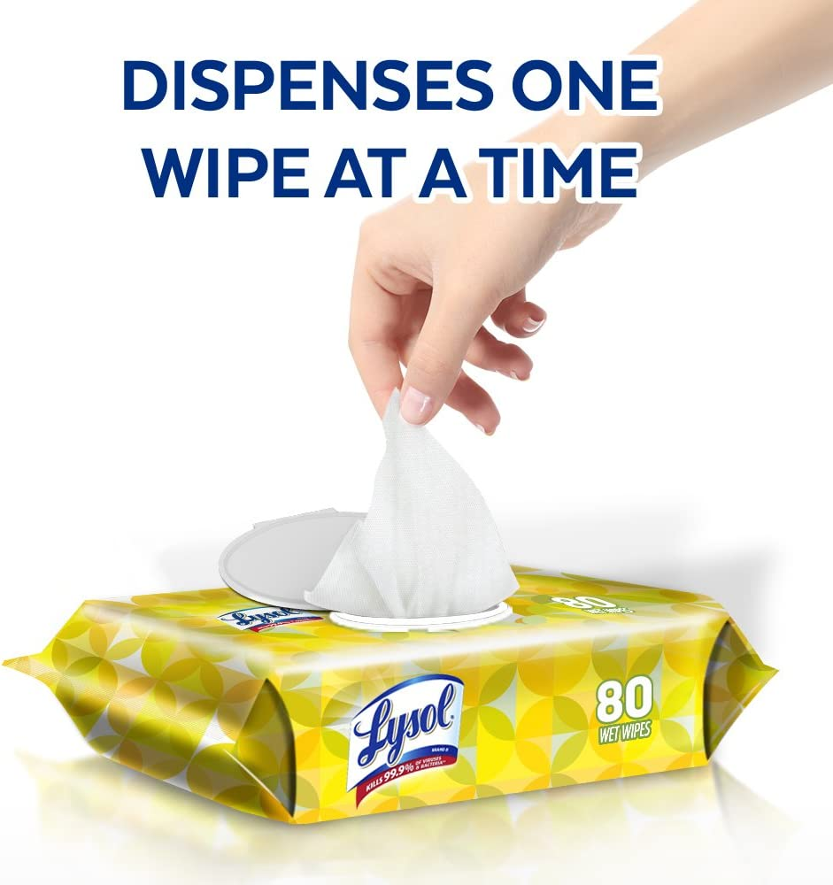 Lysol Disinfecting Wipes with Lemon and Lime Blossom Scent, 80 Wipes/Pack, 6 Pack/Case 99716CT: Health & Personal Care