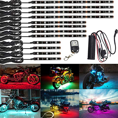 NBWDY 12Pcs Vehicle Motorcycle LED Light Kit Strips Multi-Color Accent Glow Lighting Neon Lights Lamp Flexible with Remote