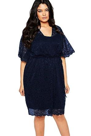 Loveours Spitze Große Größen Cocktail Kleid Partykleider Blau (XL ... ff6cefe6b5