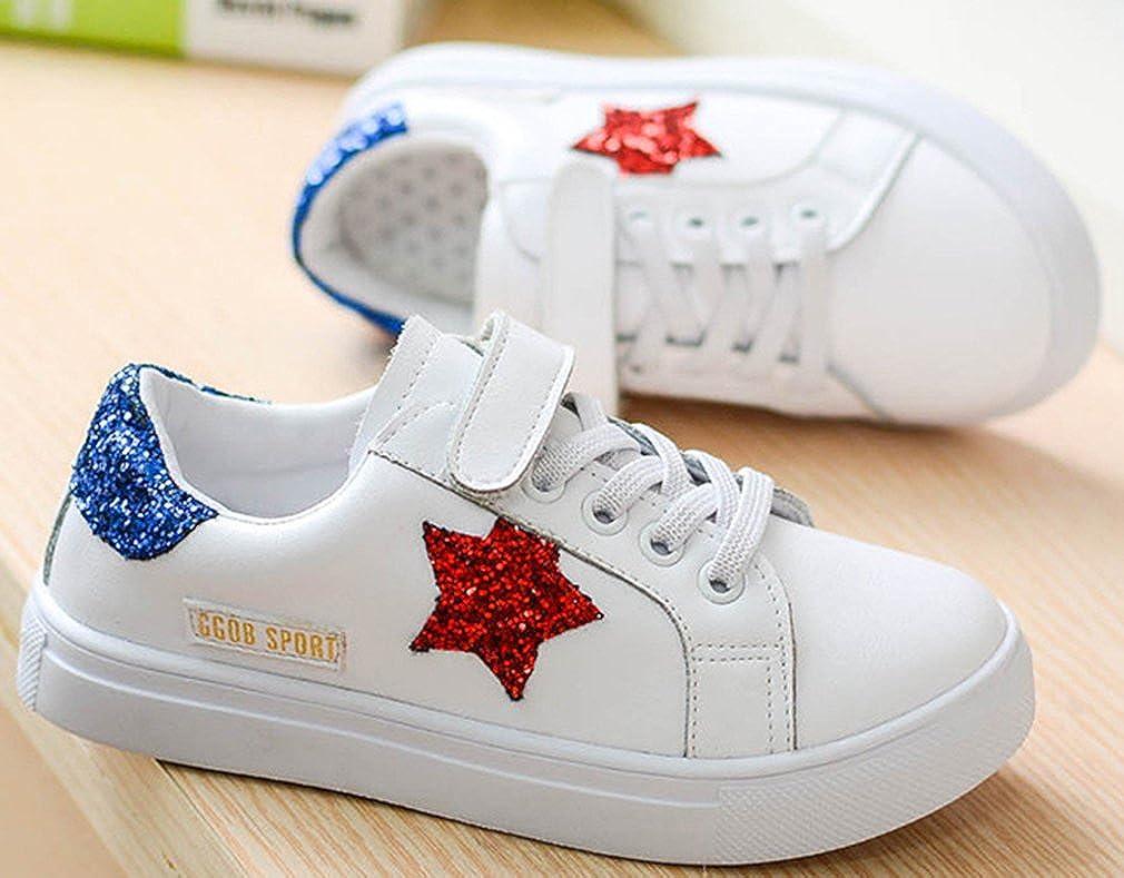 VECJUNIA Girls Fashion Flat Sneakers with Shining Stars Non-Slip School-Uniform