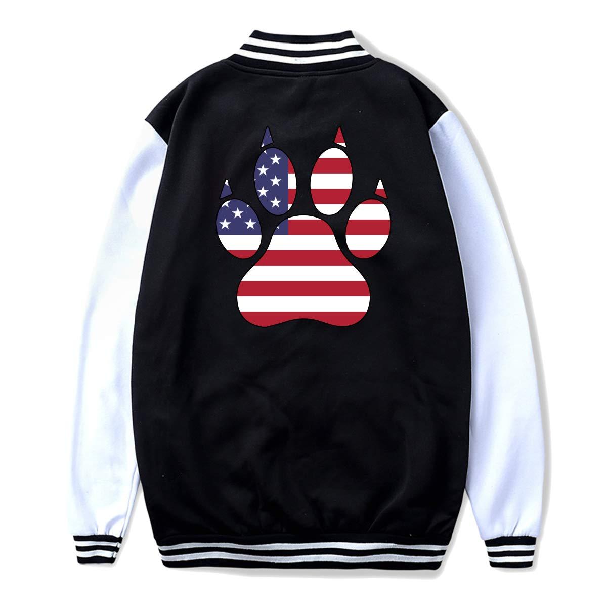 Unisex Youth Baseball Uniform Jacket American Flag Dog Paw Coat Sweatshirt Outwear Back Print