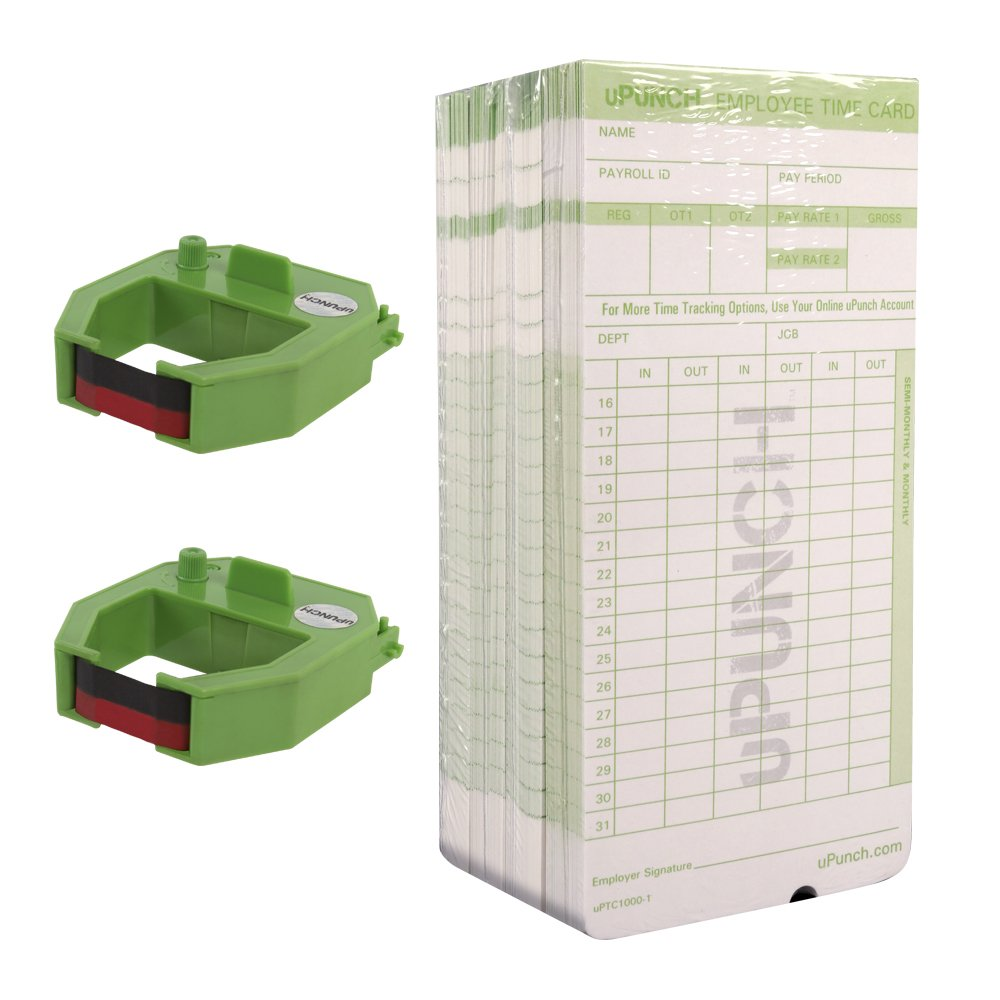 uPunch 2 Pack Ribbon/200 Card Combo for Green HN3000 AutoAlign Time Clocks (HNRG2TCG1200) by uPunch