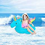 Kyson Unicorn Inflatable Swim Ring Kids Safety Trainer Water Float Seat - Popular Swimming Toy - Swimming Learning Device For Summer Fun (Blue)