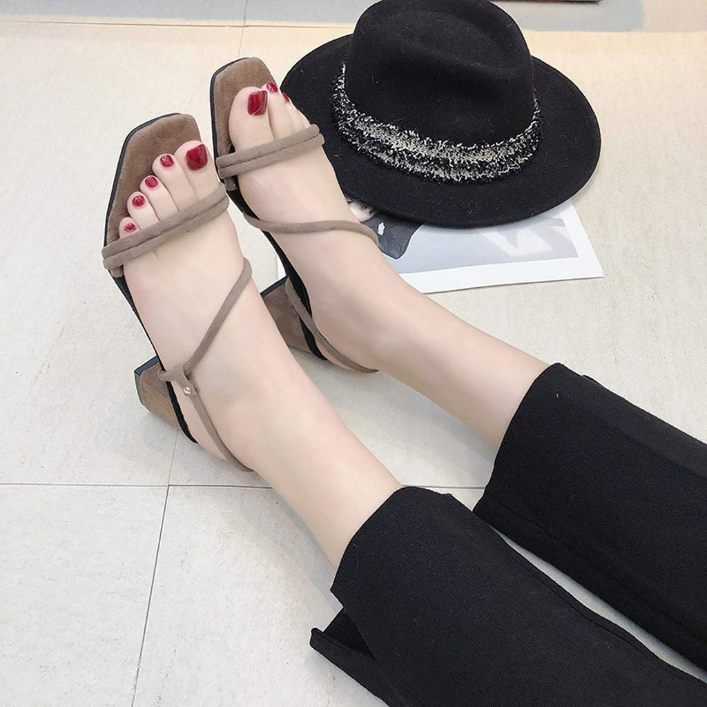 Most Wished Teresamoon Women Open Toe Breathable Beach Elastic Band Sandals Casual Square Heels Shoes
