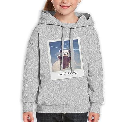 DerlonKaje Bear Baby's Determination Don't Cry Youth Sweatshirt Youth Hoodie Boys Sweater Girls Pullover Hooded Sweatshirt