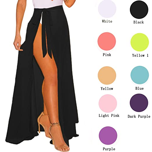 a46e51089b Womens Maxi Skirt, Bikini Sarong Cover up Sheer Wrap High Waist Beach  Dresses (Black