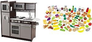 KidKraft Uptown Espresso Kitchen with KidKraft 63330 Tasty Treat Pretend Play Food Set Bundle