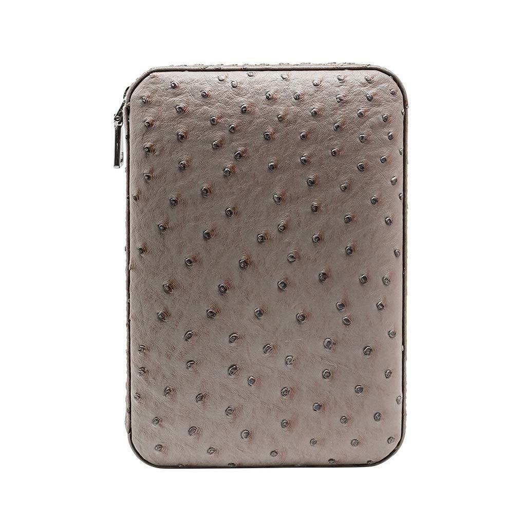 HYZXJHE Cigar Box, Portable Leather Cedar Wood Lining Cigar Set - can accommodate 4 Cigars (Color : Gray)