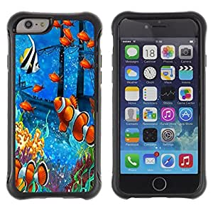 LASTONE PHONE CASE / Suave Silicona Caso Carcasa de Caucho Funda para Apple Iphone 6 PLUS 5.5 / Fish Painting Underwater Sea Coral Koi