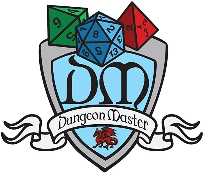 Dark Spark Decals DM Dungeon Master Class Shield - 4 Inch Full Color Vinyl Decal for Indoor or Outdoor use, Cars, Laptops, Décor, Windows, and More
