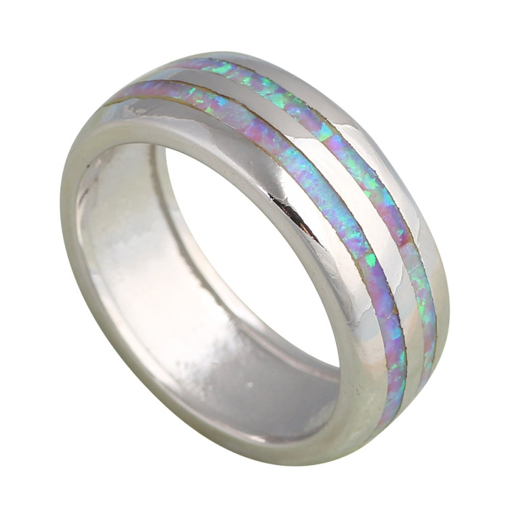 T-Ring Fashion Design Purple Fire Opal Rings for Women Wedding Ring Engagement Bridal Rings