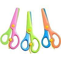 3 Pcs Toddler Scissors, Plastic Children Safety Scissors Dual-Colour Pre-School Training Scissors Safety Paper Cutting…