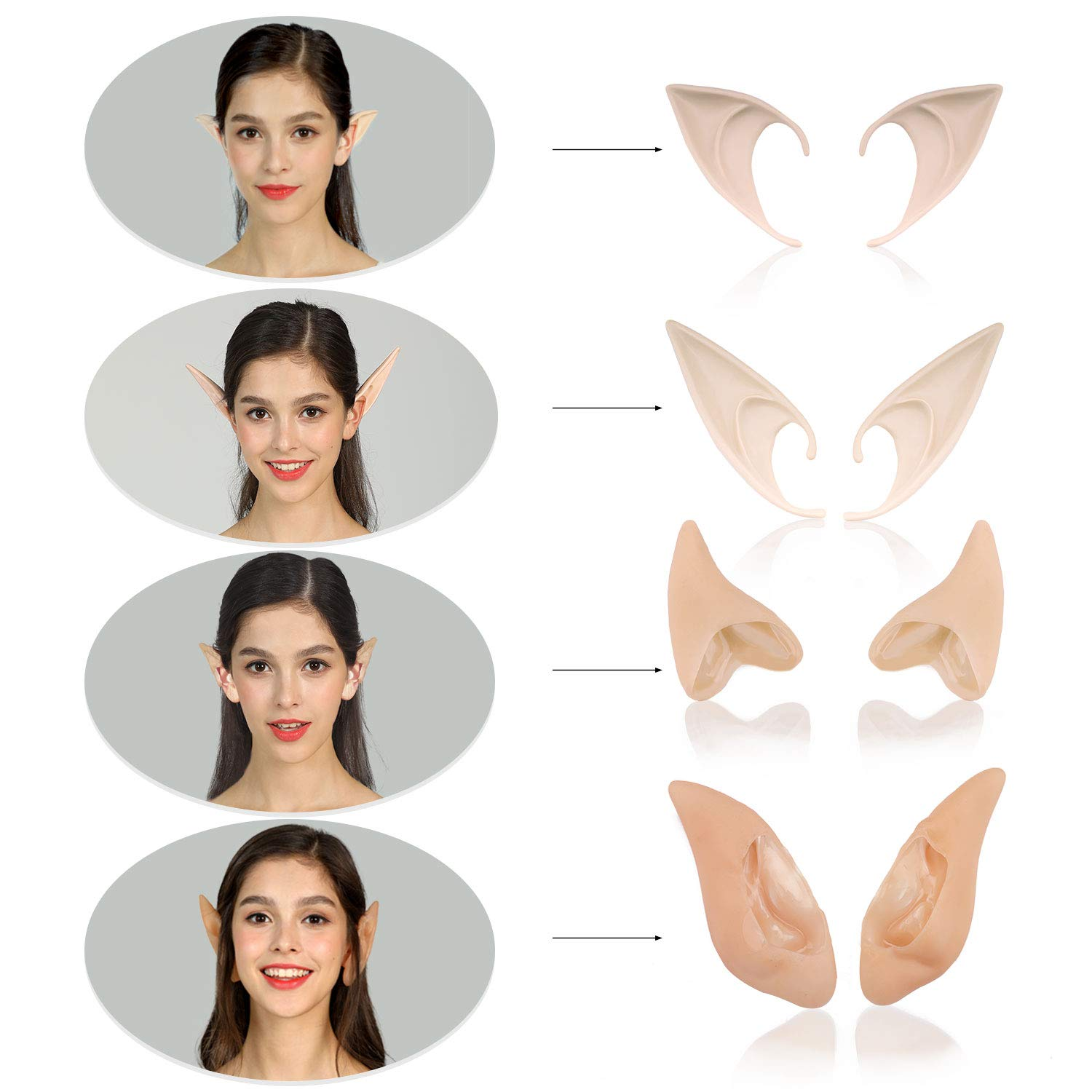 Phaxcoo 4 Pair Cosplay Fairy Pixie Elf Ears Anime Halloween Elven Ears Goblin Party Dress Up Costumes Accessories by Phaxcoo