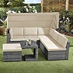 Garden-Gear-5-Piece-California-Rattan-Daybed-Outdoor-Furniture-Set-with-Extendable-Canopy-Cushions-Cover-Included-Dark-Grey-with-Cream-Cushion