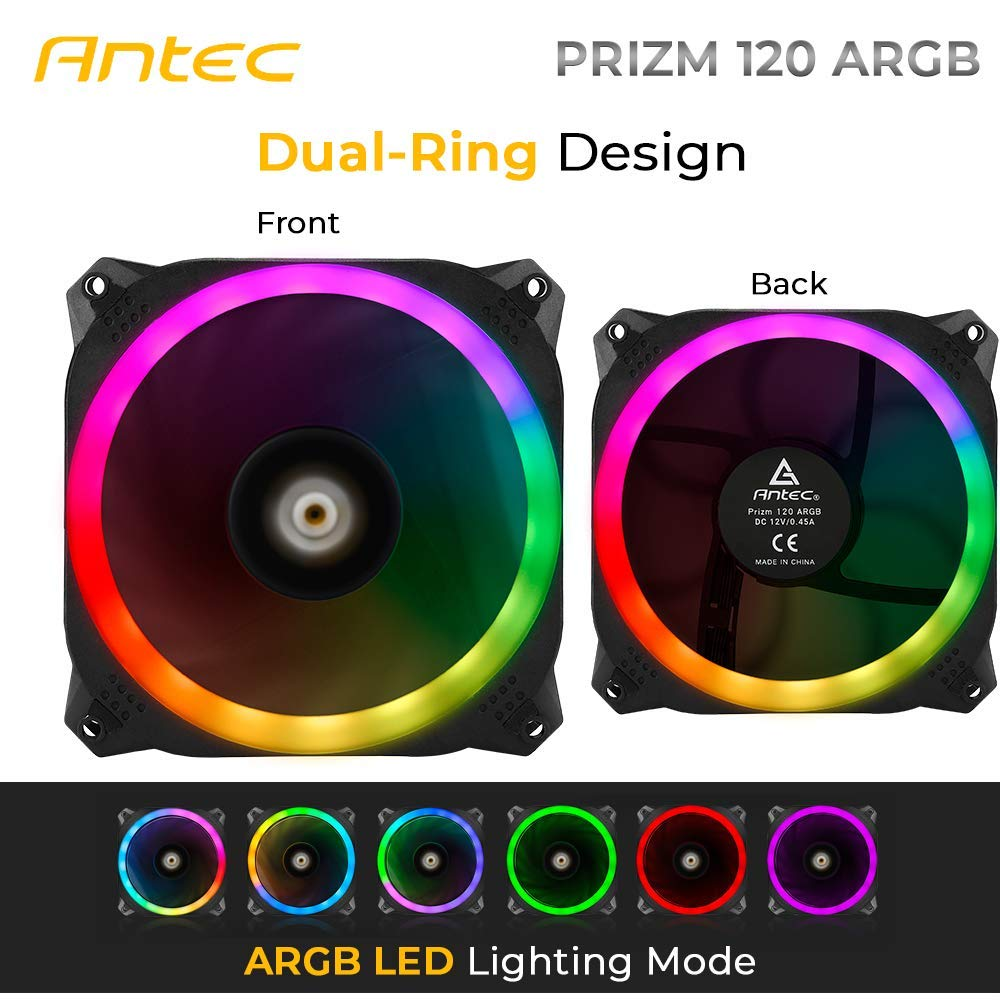 Antec Prizm 120mm Addressable RGB Case Fan Radiator - 3 Pack and 2 RGB Strips by Antec (Image #4)
