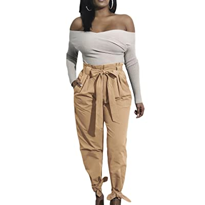 Suvimuga Femmes Se Occasionnels Cravate Taille Confortable Longtemps Sac Pantalon Pantalon