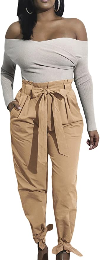Suvimuga Womens Casual Loose Tie Waist Comfy Long Paper Bag Pants Trousers