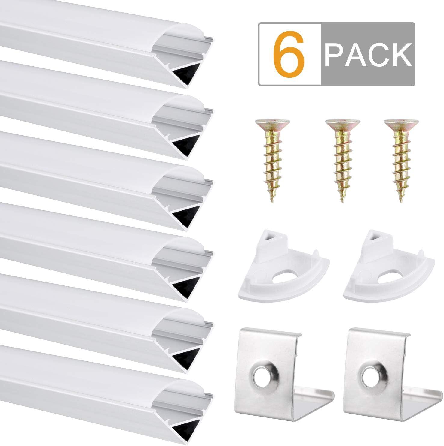 Perfil de Aluminio, DazSpirit 6 Pack 1M/3,3ft V Forma, Cubierta de difusor blanco lechoso para Luces de Tira del LED, Los Casquillos de Extremo y los Clips de Montaje del Metal-Plata