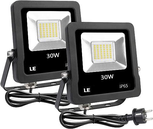 LE Foco LED 30W Blanco Frío 2400lm, Resistente al Agua IP65, Focos ...
