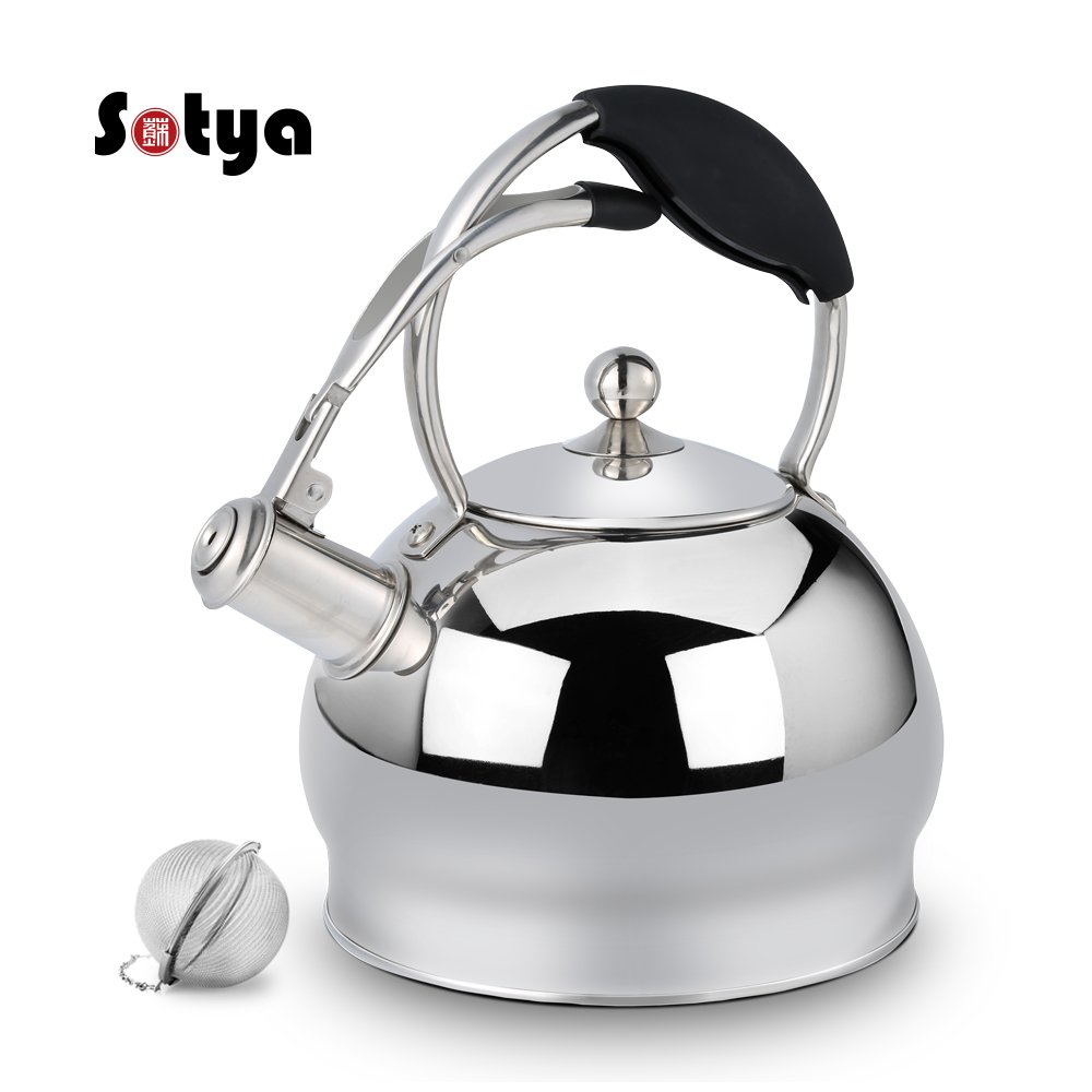 Best Stainless Steel Whistling Teakettle Tea Pot Kettle for Stovetop Teapot Stove Top with anti-hot gloves,3.17 Quart (RED) sotya SSH-002-R