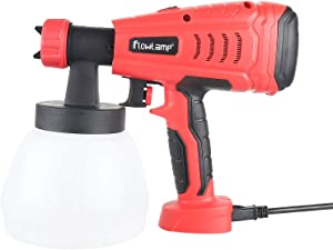 flowlamp Paint Sprayer, 700W HVLP Electric Spray Gun, Home Paint Sprayer with 1300ml Container, 3 Adjustable Nozzle Sizes, Easy Spraying and Cleaning, for Fence, Cabinet, DIY Painting