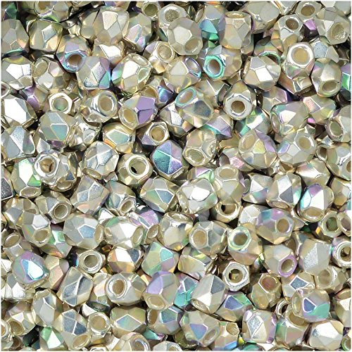 True2 Czech Fire Polished Glass, Faceted Round Beads 2mm, 50 Pieces, Fine Silver Plated (Glass Fine Beads)