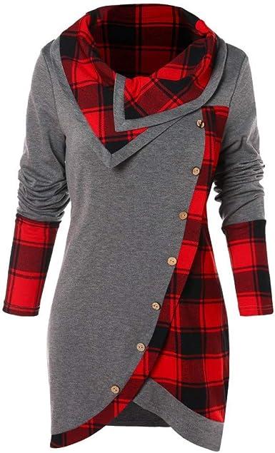 ReoolyLas Mujeres de la Manga de la Blusa de Tela Escocesa Larga de Cuello Alto del tartán de la túnica con Capucha suéter Tops: Amazon.es: Ropa y accesorios