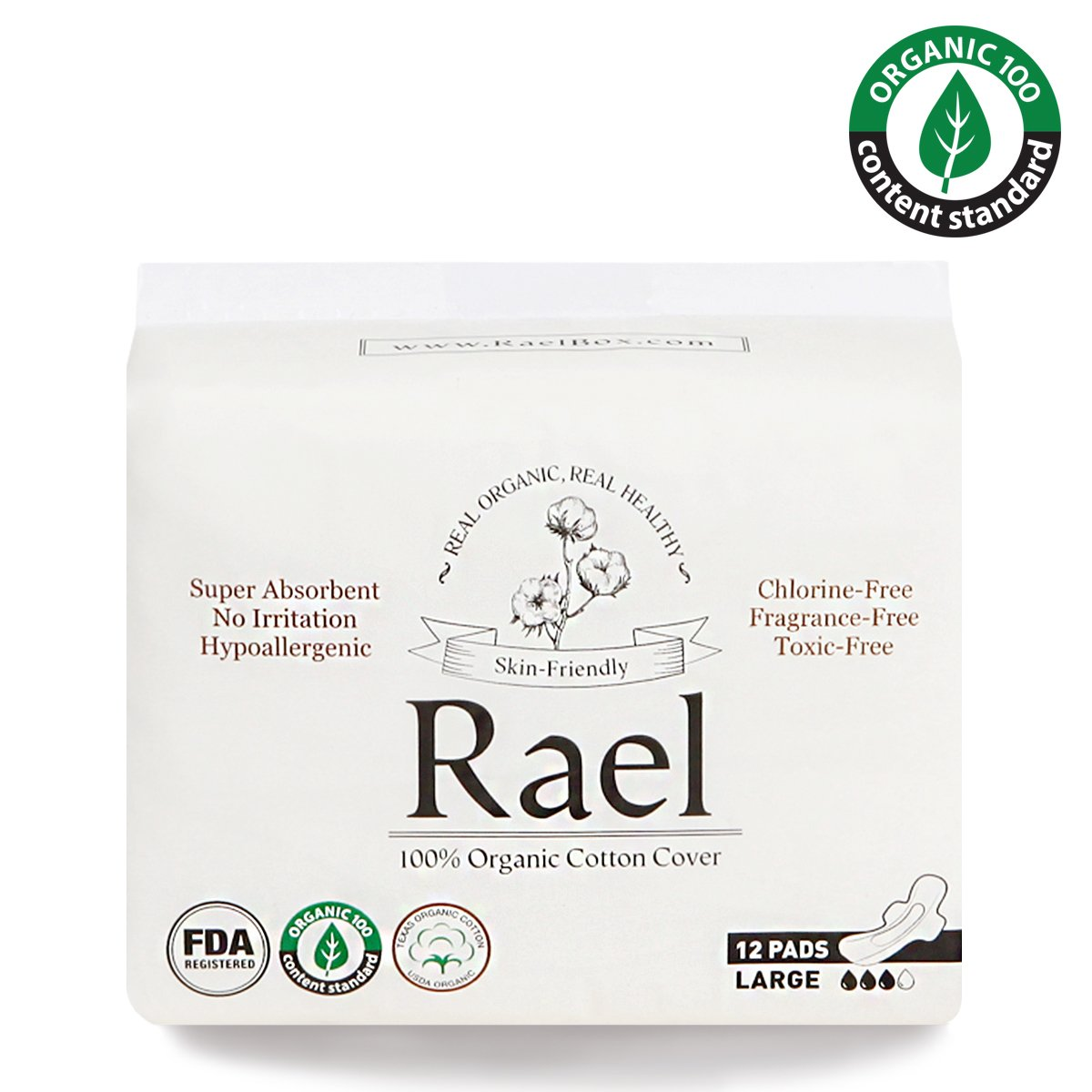 Rael Certified Organic Cotton Menstrual Large Pads - 2Pack/ 24 total - Ultra Thin Natural Sanitary Napkins With Wings (2 Pack)