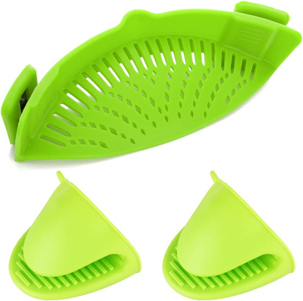 Silicone Clip-on Strainer Colander, DanziX Hands-Free Heat Resistant Drainer Filter for Pot Bowl Pan Pasta Spaghetti Vegetable, with 2 Silicone Gloves- Green