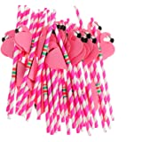 25pcs Tiki Partei Flamingo Kunststoff Strohhalme Hawaiische Luau Barware Beach Party - Rosa , 19.5 cm