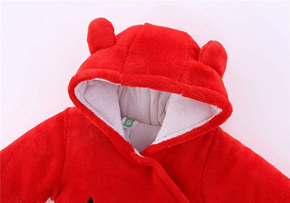 Kobay Baby Unisex Romper Newborn Baby Girl Boy Solid Bear Velvet Hooded Jumpsuit Hooded Clothes