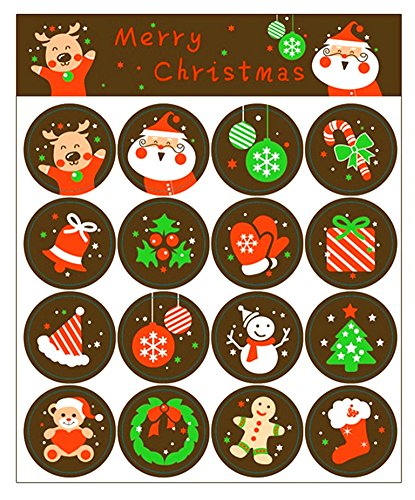 ALIMITOPIA Christmas Sticker Xmas Elements Self-Adhesive DIY Cartoon Sticker Gift Sealing Decoration Paster Baking Packing Label Wrapping Stickers Packaging Envelope Seals(10 Sheets,160pcs)